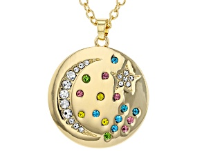 Multi Color Crystal Gold tone Moon Necklace
