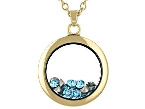 Blue Swarovski Elements ™ March Birthstone Gold Tone Necklace