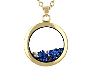 Dark Blue Swarovski Elements ™ September Birthstone Gold Tone Necklace
