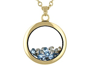 Light Blue Swarovski Elements ™  December Birthstone Gold Tone Necklace