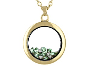 Olive Green Swarovski Elements™  August Birthstone Gold Tone Necklace