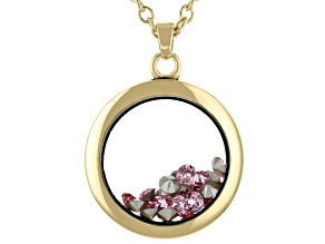 Pink Crystal October Birthstone Gold Tone Necklace