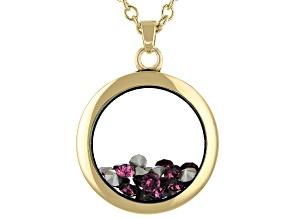 Purple Swarovski Elements™  February Birthstone Gold Tone Necklace