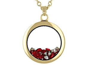 Raspberry Red Colored Swarovski Elements™ January Birthstone Gold Tone Necklac