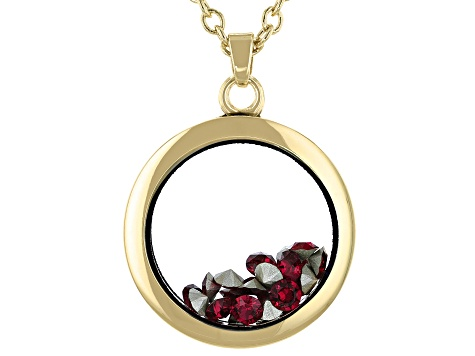 Red Crystal Swarovski Elements™ July Birthstone Gold Tone Necklace