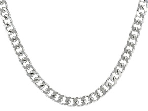Silver Tone Mens Curb Link Chain Necklace