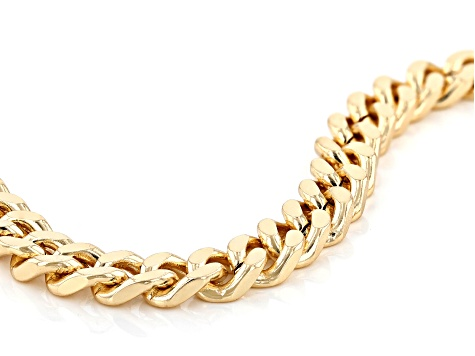 Gold Tone Mens Curb Link Chain Necklace
