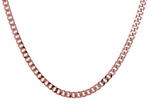 Rose Tone Mens Curb Link Chain Necklace