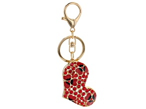 Red Crystal and Enamel Heart Key chain with Flowers