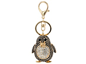 Gold Tone Black and White Crystal Penguin Key Chain