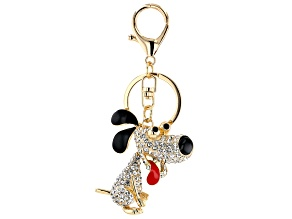 White Crystal with Red and Black Enamel Dog Key Chain