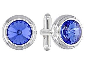 Silver Tone Blue Sapphire Color Crystal Cufflinks