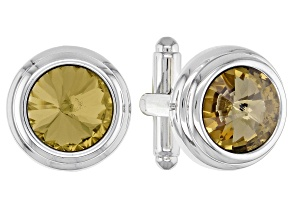 Silver Tone Smoke Topaz Color Crystal Cufflinks