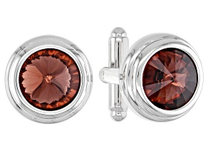Silver Tone Red Color Crystal Cufflinks