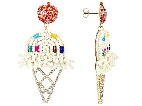 Multi-Color Crystal and Beaded Ice Cream Dangle Earrings