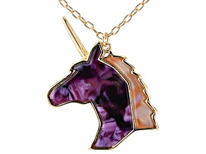"Gold Tone Pink and Purple Resin Children's 14"" Unicorn Necklace"