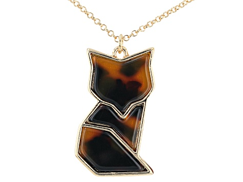 "Gold Tone Resin Fox 14"" Children's Necklace"