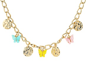Gold Tone Pink, Blue, and Yellow Resin Butterfly Charm Necklace