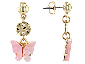 Gold Tone Pink Butterfly Resin Children's Earrings