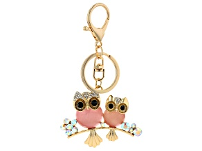 Pink and White Crystal, Gold Tone Owl Keychain