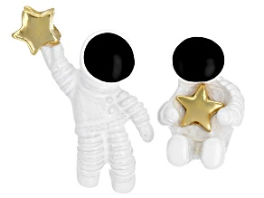 Gold Tone Spaceman Stud Earrings