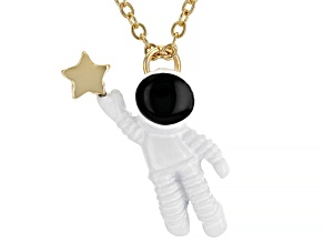 Gold Tone Astronaut and Star Necklace