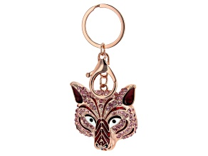 Rose Gold Tone Pink Crystal Tiger Keychain