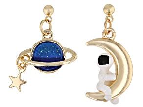 Gold Tone Blue and White Enamel Celestial Dangle Earrings