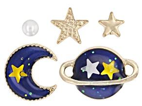 Gold Tone Blue Enamel Saturn, Moon, and Star Set of 5 Earrings