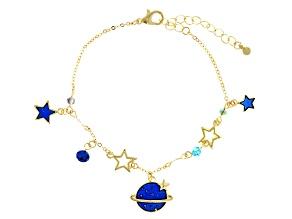 Silver Tone Blue Enamel Celestial Bracelet