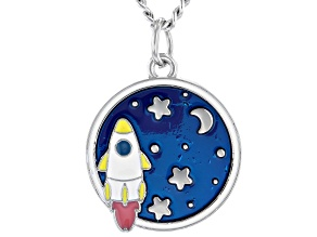 Silver Tone Tone Blue Enamel Spaceship Pendant with Chain