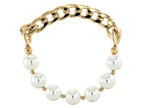 Gold Tone Imitation Pearl Stretch Bracelet.