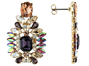 Gold Tone Multi Color Crystal Statement Earrings