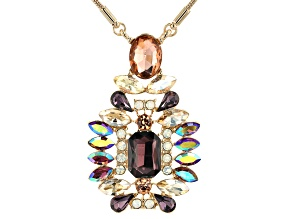Gold Tone Multi Color Crystal Necklace