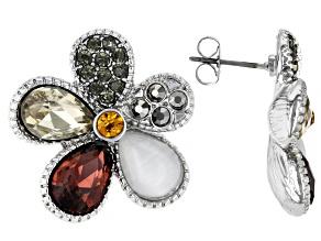Silver Tone Crystal Floral Stud Earrings