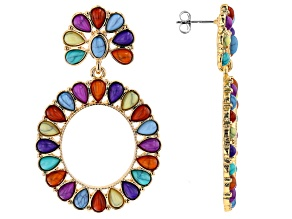 Gold Tone Multi Color Beaded Earrings