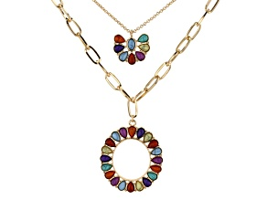 Gold Tone Multi Color Beaded Chain Necklace