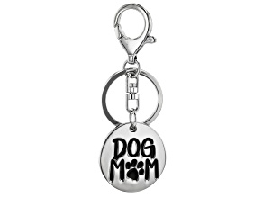 """Silver Tone """"Dog Mom"""" Key Chain"""