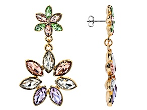 Crystal Gold Tone Floral Earrings