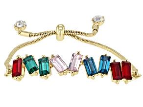 Crystal Gold Tone Bar Bolo Bracelet
