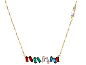 Crystal Gold Tone Bar Necklace