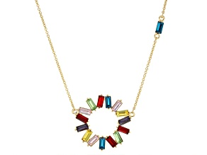 Multi -Color Crystal Gold Tone Necklace