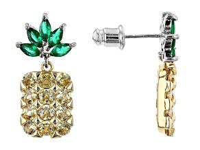 Crystal Pineapple Silver Tone Dangle Earrings
