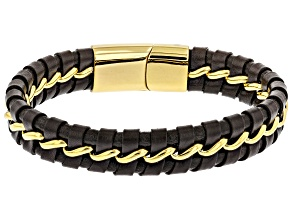 Gold Tone Faux Leather Men's Corded Bracelet