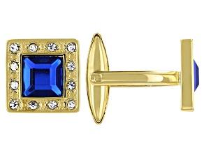 Gold Tone Crystal Men's Cufflinks