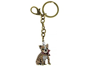 Multi Color Crystal Antiqued Gold Tone Chihuahua Key chain