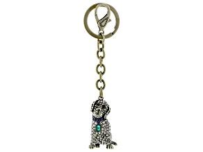 Multi Color Crystal Antiqued Gold Tone Labrador Retriever Key Chain