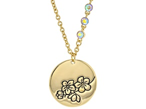 Gold Tone Clear Crystal Accent, Cherry Blossom Pendant With Chain