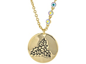 Gold Tone Clear Crystal Accent, Holly Pendant W/ Chain