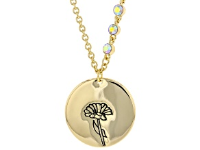 Gold Tone Clear Crystal Accent, Marigold Pendant W/ Chain